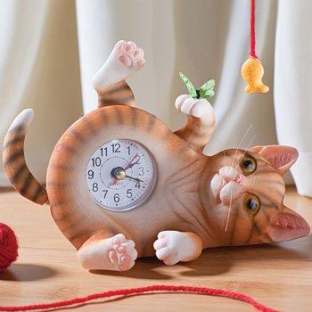 Animated Home Office Orange Tabby Swinging Leg Pendulum Kitty Cat Clock