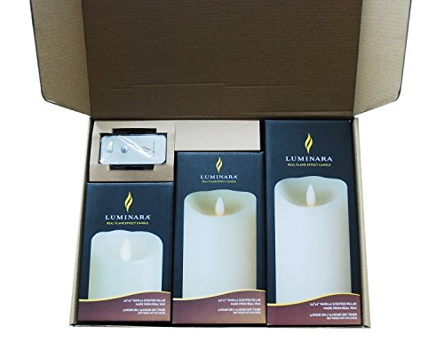 Luminara Flameless Candles Ivory Wax Candle 3.5 by 5,7,9 Inch with Timer Remote Included 3 Set (Luminara Candles Remote compare prices)