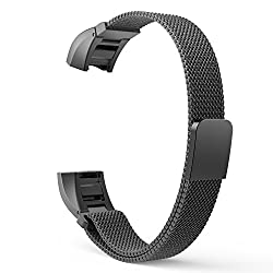 Fitbit Alta Accessory Band, MoKo Milanese Loop Stainless Steel Bracelet Smart Watch Strap for Fitbit Alta Smart Fitness Tracker with Unique Magnet Lock, No Buckle Needed, Tracker NOT Included - BLACK