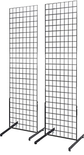 Commercial Grade 2' x 6' Grid Panel Wall Two Pack Combo with Wall Mount Brackets (Grid Wall Mount Brackets compare prices)