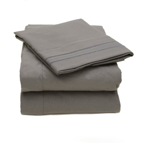 """Matisse New York® Premium Quality Microfiber Three Line Bed Sheet Set Luxurious Silky Soft Wrinkle Free & Fade Resistant 4 Pc Sheet Set, Deep Pocket Up To 16"""" - All Size And Colors (Grey, Queen) front-170808"""