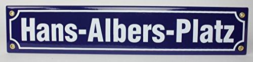 buddel-bini-versand-plaque-de-rue-en-email-inscription-hans-albers-platz-40-x-8-cm-bleu-blanc