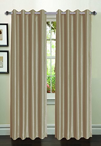 CHIC 1PC SEMI-SHEER 2 MIX COLOR GROMMET TOP WINDOW CURTAIN PANEL BURGUNDY TAUPE