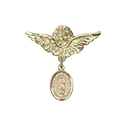 14kt Gold Filled Baby Badge with O/L of Guadalupe Charm and Angel w/Wings Badge Pin