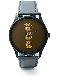 BigOwl Cat Coffee And Glasses Analog Premium Men's Wrist Watch 2002484502-RB1-B-GRY