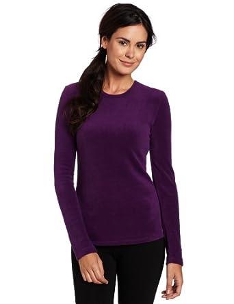 Cuddl Duds Women's Fleecewear Long Sleeve Crew Neck Sweater, Deep Purple, Small