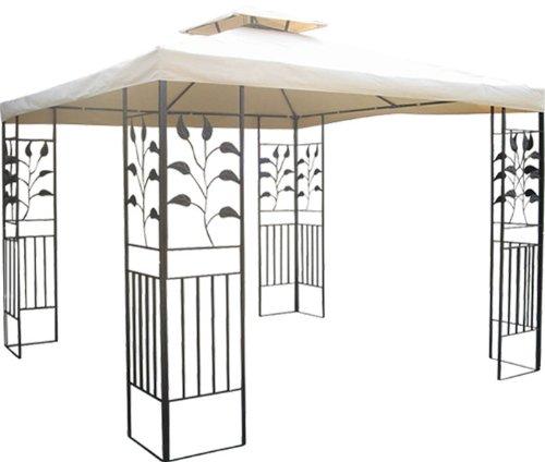 WASSERDICHTER Pavillon 3x3m beige TOSKANA Metall inkl. Dach Festzelt wasserfest Partyzelt (beige)