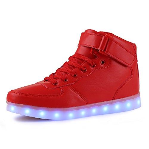 AFFINEST Alta Top USB ricarica LED lampeggiante moda scarpe per bambine e ragazze Scarpe da donna uomo(rosso,33)