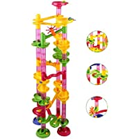 Marble Run Coaster 85 Piece Set With 55 Building Blocks 30 Plastic Race Marbles. Learning Railway Construction...