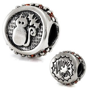 Kitty Bat Spider Web Flip Bead Halloween Solid Sterling Silver Authentic Ohm Beads Fits European Charm Bead Bracelets