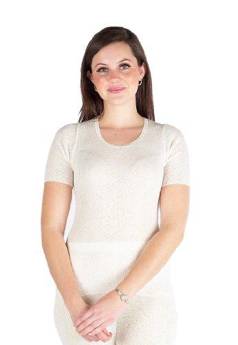 3 Pack Womens Thermal Underwear Short Sleeve Vest White, Various Sizes