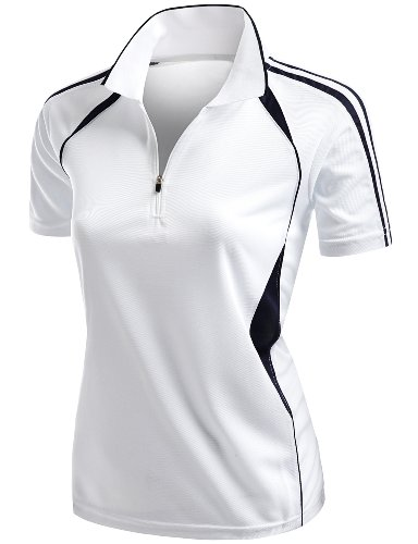 7f0d0a68 Xpril Women's Coolmax 2 Tone Collar Zipup Polo T-Shirt