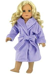 Dolls Robe for 18 Inch Dolls & Fits American Girl Dolls - Dolls Robe & Tie Belt, Lavender Doll Robe