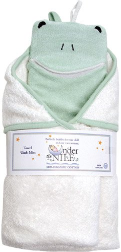 Organic Cotton Hooded Towel & Wash cloth - Frog - 1