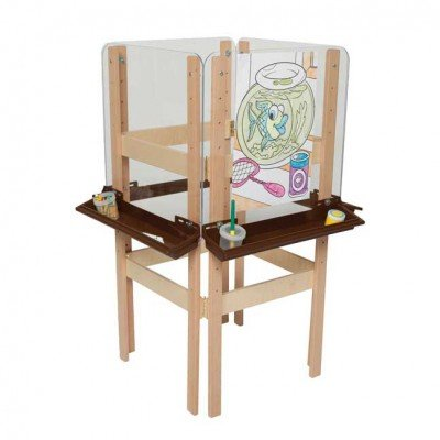 4 Sided Adjustable Easel with Acrylic & Brown Trays