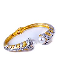 Treasure Trove By Niharika Gupta Gold And Silver Polish Mother Of Pearl Adjustable Kada For Women