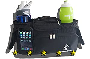 Stroller Organizer, Fits Umbrella, Britax, Schwinn, Baby Trend, and most others, Great for your BOB Jogging Stroller as well, Dual Cup Holders, Zippered Front Pocket, This Is One Of The Best Jogging Stroller Accessories You Can Buy, A Perfect Baby Gift. You Deserve This.