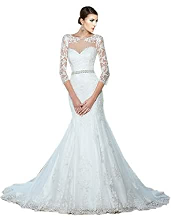 Zhuolan white mermaid lace 3 4 length sleeves wedding for Amazon cheap wedding dresses