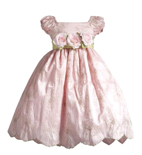 Lilith Embroidered Puff Sleeve Flower Girl Dress With Sash For Infants Fancy Dress Color: Pink Dress Size: 18M (18 Months) front-841926