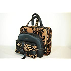 Cosmetic Weekender Travel Case Bag 3pc Set ~ Black/Beige In Color