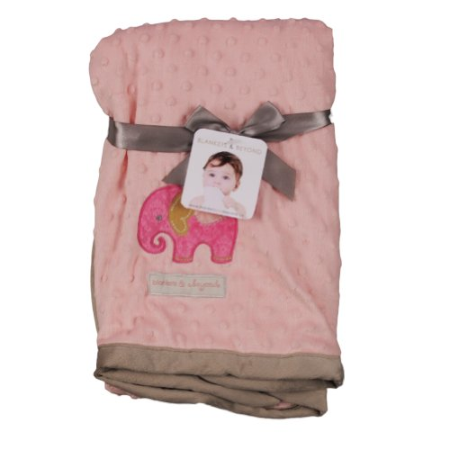 Blankets and Beyond Lovely Decorated Baby Blanket with Animal Picture Pink - 1