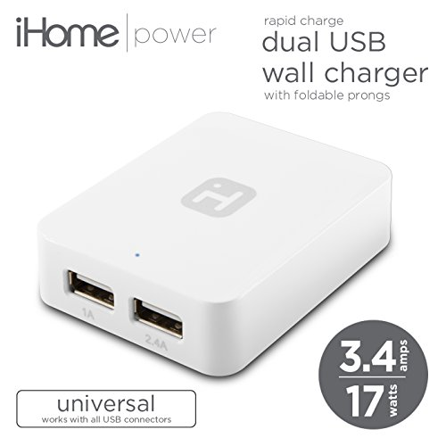 iHome - AC Dual USB Wall Charger 3.4 Amp, 2 Port Universal Apple Android iPad iPhone, Galaxy, Home & Travel, High Output (White) (Wall Auto Battery Charger compare prices)