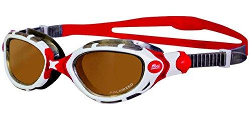 Zoggs Predator Flex Polarized Ultra - Gafas de natación, color white/red/silver, Talla única