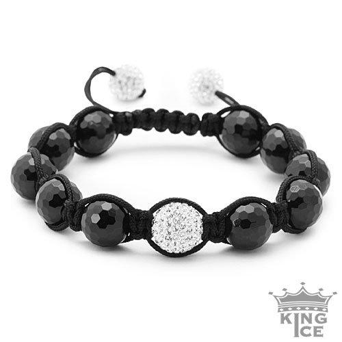 Swarovski Crystal Black Bead Iced Out Jabari Bracelet Jewelry