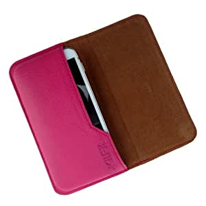 i-KitPit : Genuine Leather Flip Pouch Case Cover For Micromax Canvas Elanza A93 (PINK)