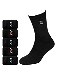 5 Pairs of Cotton Rich Diagonal Striped Sports Socks