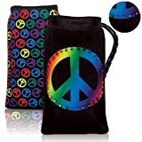Universal PEACE Sign - Multi-Colored on Black- Rhinestones - Cell Phone and IPOD / MP3 / Camera Sock Bag Carring Case / Cover with Neck Strap
