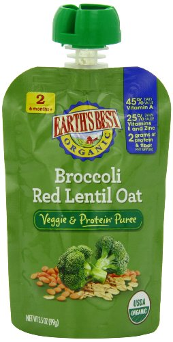 Earth'S Best Organic Veggie & Protein Puree Baby Food, Broccoli Red Lentil Oat, 3.5 Ounce (Pack Of 12)