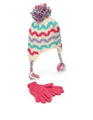 Striped Trapper Hat & Gloves Set
