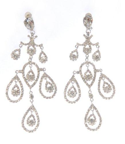 Swarovski Clip On Earrings / Elegante Crystal Teardrop Chandelier Clip on Earrings / Silver Crystal Drop Earrings