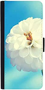 Snoogg Flower Whitedesigner Protective Flip Case Cover For Samsung Galaxy E5