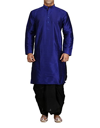 Royal Men's Silk Blend Dhoti Kurta Set (ROYAL_175_Blue _Small)
