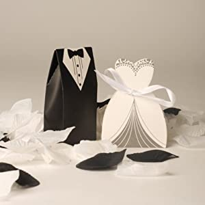 Wedding Gift Boxes Amazon : And Groom Wedding Favour Boxes (50 Bride & 50 Groom) Style 2: Amazon ...