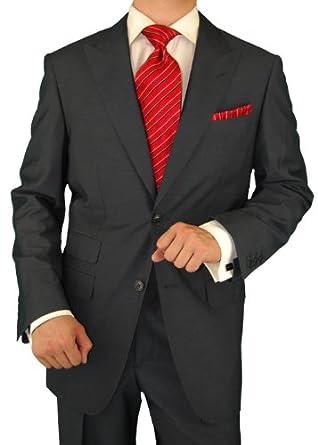 Gino Valentino Men's 2 Button Ticket Pocket Jacket Flat Front Pants Dark Gray (36 Short)