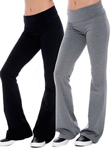 Fold-over Waistband Stretchy Cotton-blend Yoga Pants (Medium-2Pack, Grey & Black)