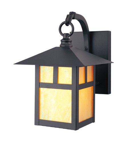 Livex Lighting 2131-07 Montclair Mission 1 Light Outdoor Bronze Finish Solid Brass Wall Lantern with Iridescent Tiffany Glass