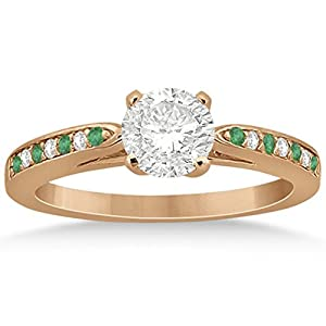 Cathedral Design Emerald and Diamond Side Stone Engagement Ring in 14k Rose Gold 0.22ct