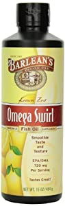 Barlean's Organic Oils Omega Swirl Fish Oil, Lemon Zest, 16-Ounce Bottle