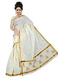 Brindavan Kerala Cotton Jari (Gold) Bhutta Pallu Party Wear Saree(19893207)