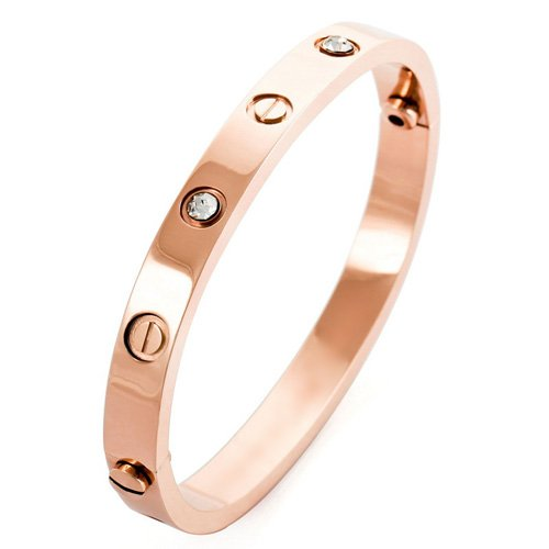 Justeel Jewelry Men Rose Gold Cubic Zirconia