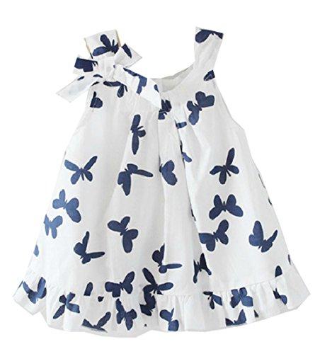 Lovely de niña en la parte superior y Casual infantil con forma de bañador para bebé de mariposas y flores de diseño de lazo y brillantes e instrucciones para hacer vestidos de algodón