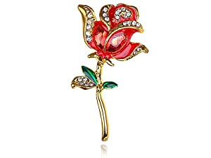 Gold Tone Crystal Rhinestone Hand Painted Single Stem Red Love Rose Brooch Pin