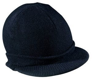 District Threads Beanie Hat with Bill Knit Cap - navy Blue