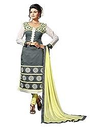 Craftliva Grey Embroidery Chanderi Cotton Dress Material