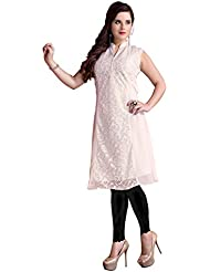 RK Exports Women's Off-White Fully Stitched Georgette & Jute Kurti