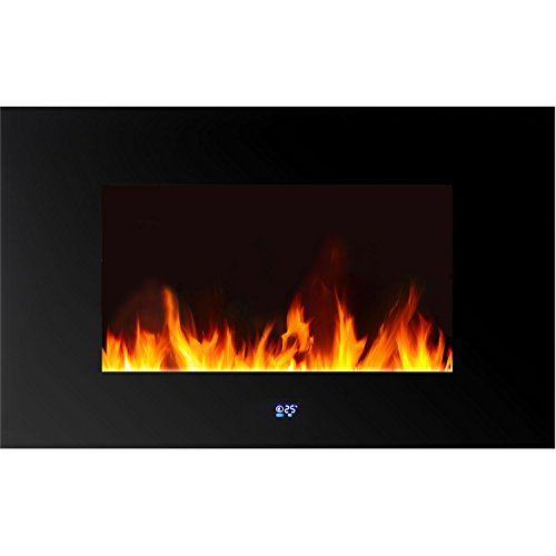 Frigidaire WLVF-10343 Venice Horizontal Wall-Mounted LED Fireplace with Digital Display and Remote Control, Black picture